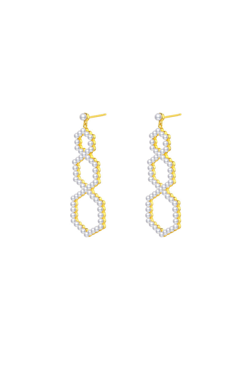 Gold Plated Silver Pearl Pavé Set Oversized Earrings