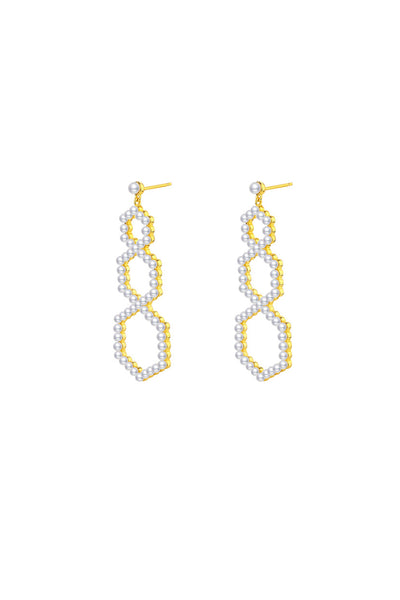 Gold Plated Silver Pearl Pavé Set Oversized Earrings Detail