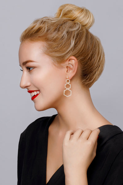 Gold Plated Silver Pearl Pavé Set Oversized Earrings on Model Style 4