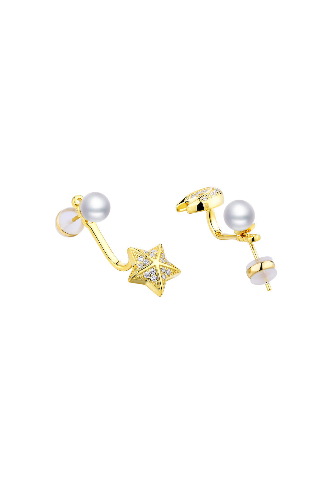 Gold Plated Silver Star Moon 2 Way Earrings