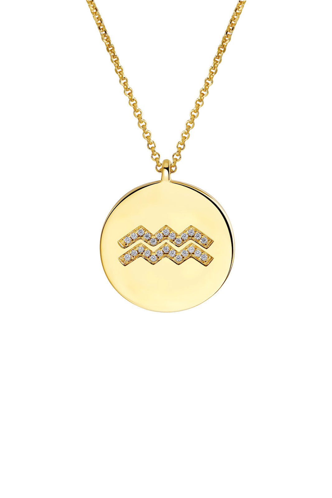 Gold Plated Silver Zodiac Necklace - Aquarius Side View
