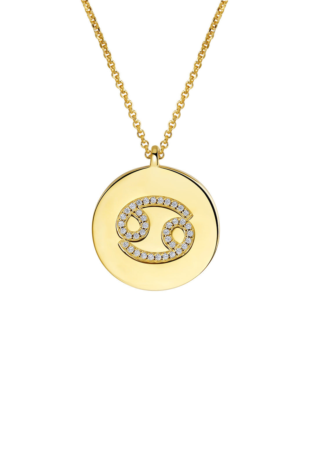 Gold Plated Silver Zodiac Necklace - Cancer Side View