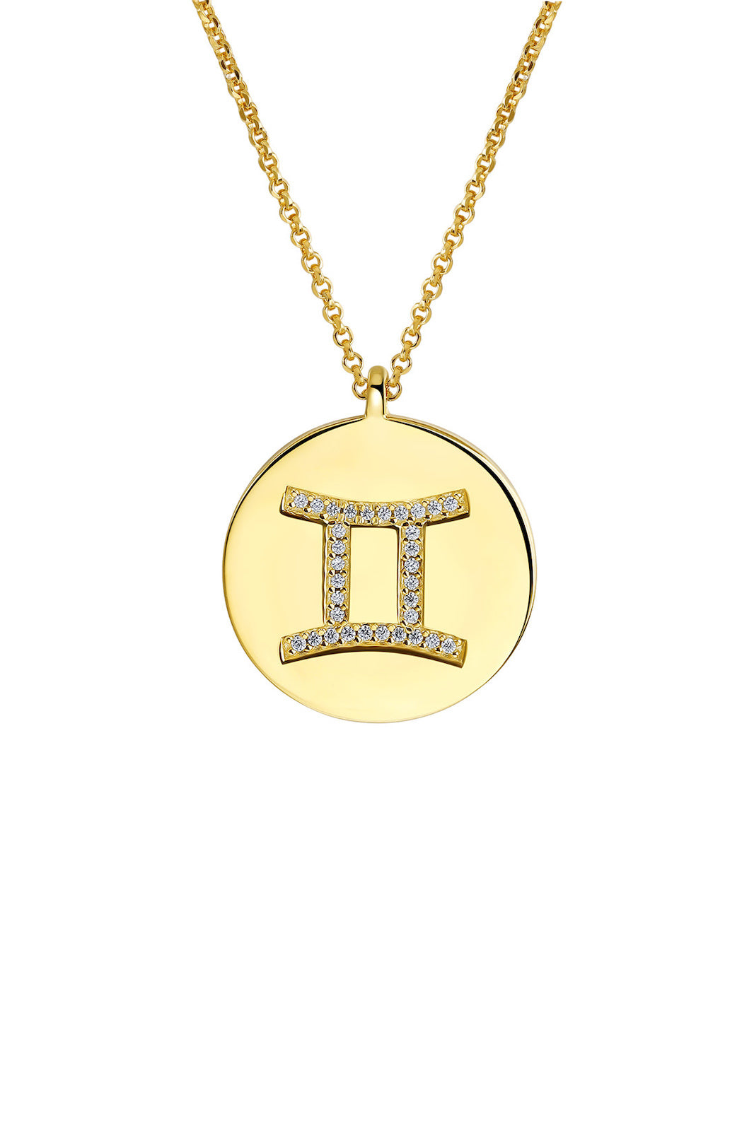 Gold Plated Silver Zodiac Necklace - Gemini Side VIEW