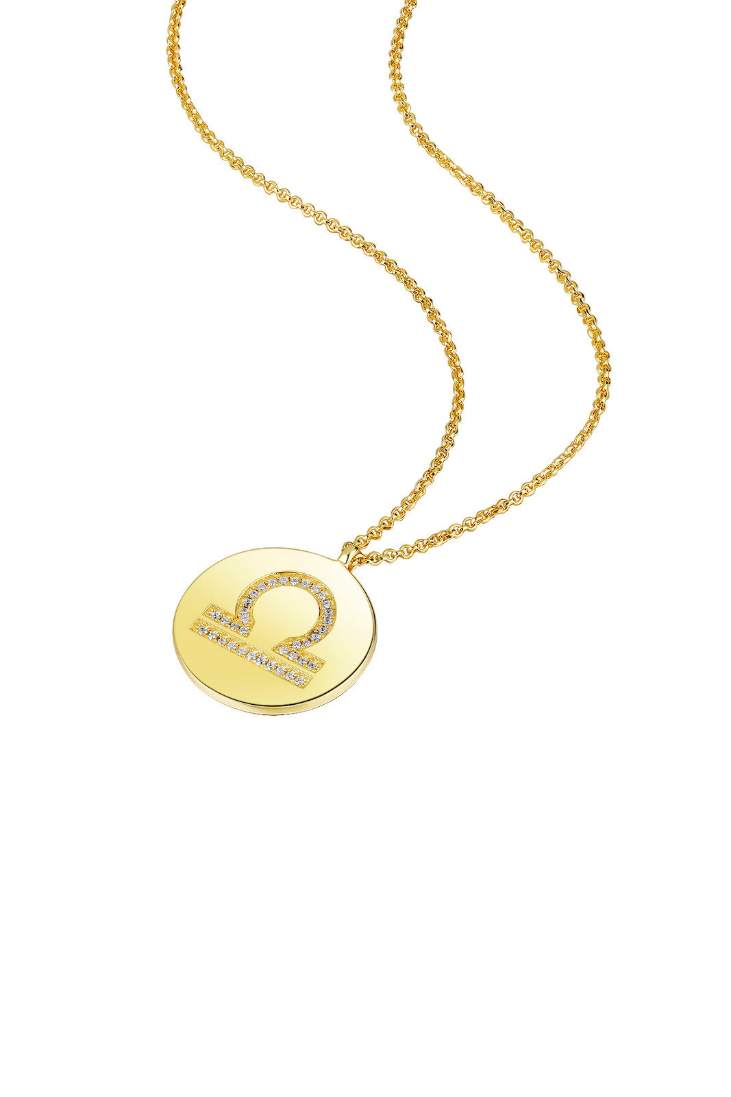 Gold Plated Silver Zodiac Necklace - Libra Side View