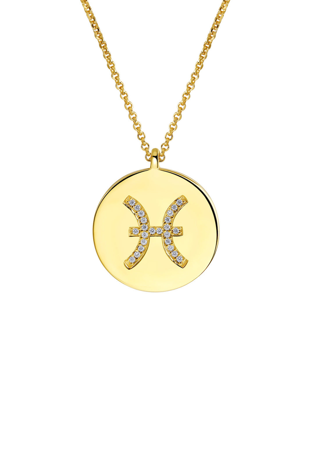 Gold Plated Silver Zodiac Necklace - Pisces Side