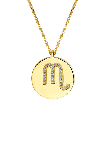 Gold Plated Silver Zodiac Necklace - Scorpio Detail