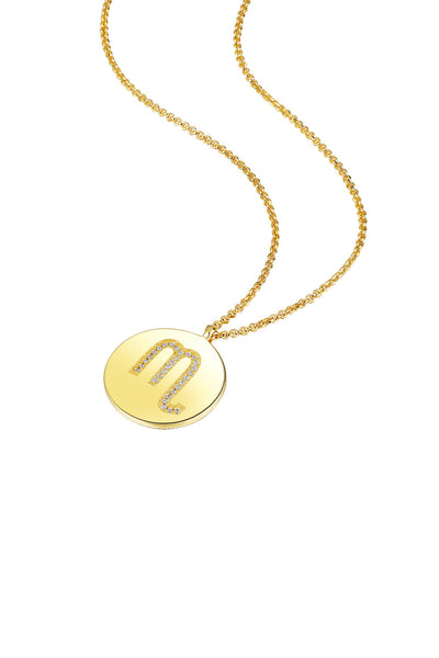 Gold Plated Silver Zodiac Necklace - Scorpio Side View