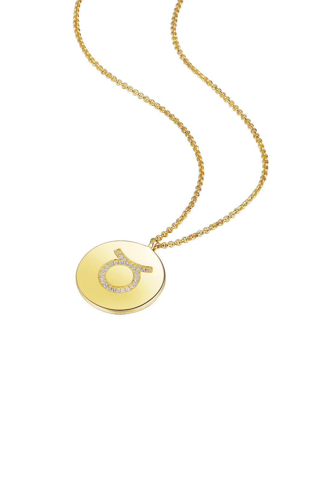 Gold Plated Silver Zodiac Necklace - Taurus Side View