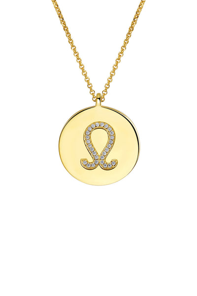 Gold Plated Silver Zodiac Necklace - Leo Detail