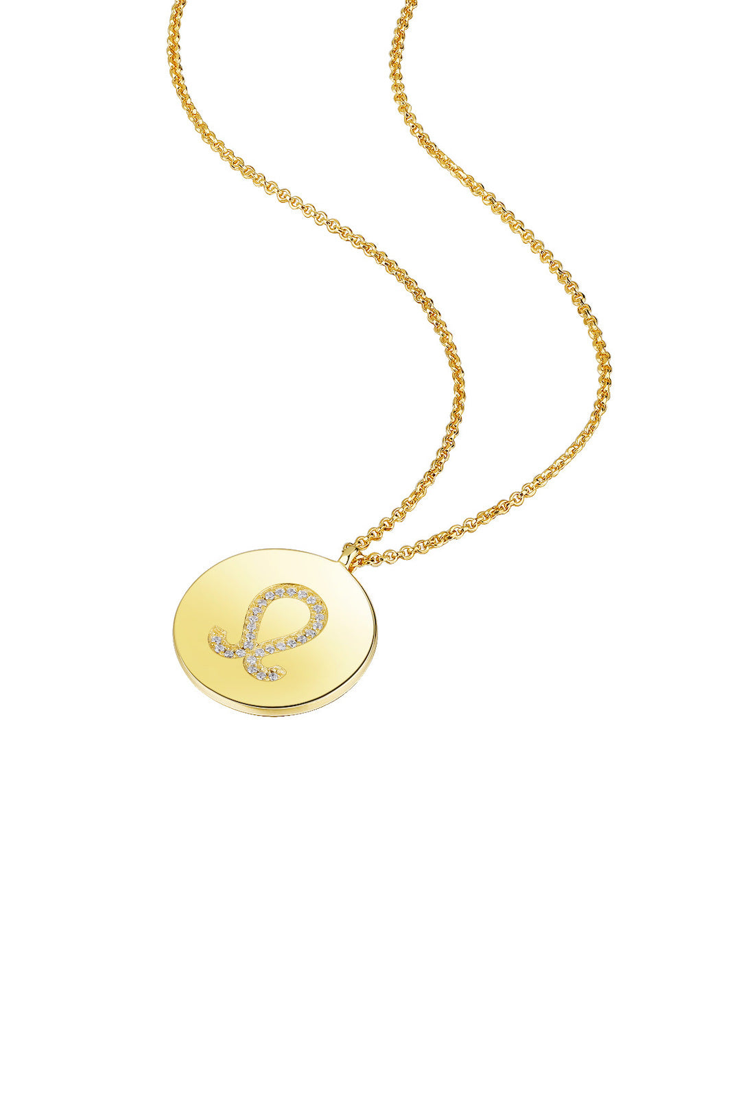 Gold Plated Silver Zodiac Necklace - Leo Side View