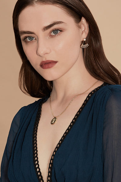 Gold Plated Silver Zodiac Necklace - Leo on Model Style 2