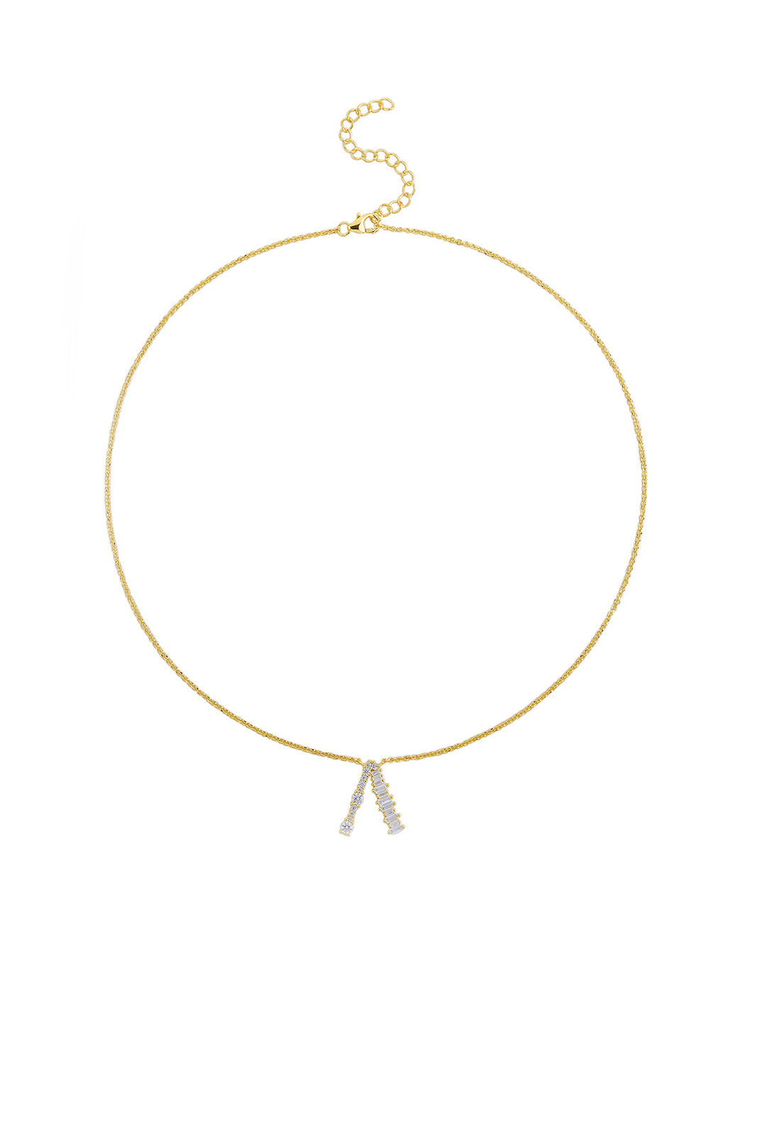 Gold Plated Sterling Silver Initial Necklace - Letter A Detail