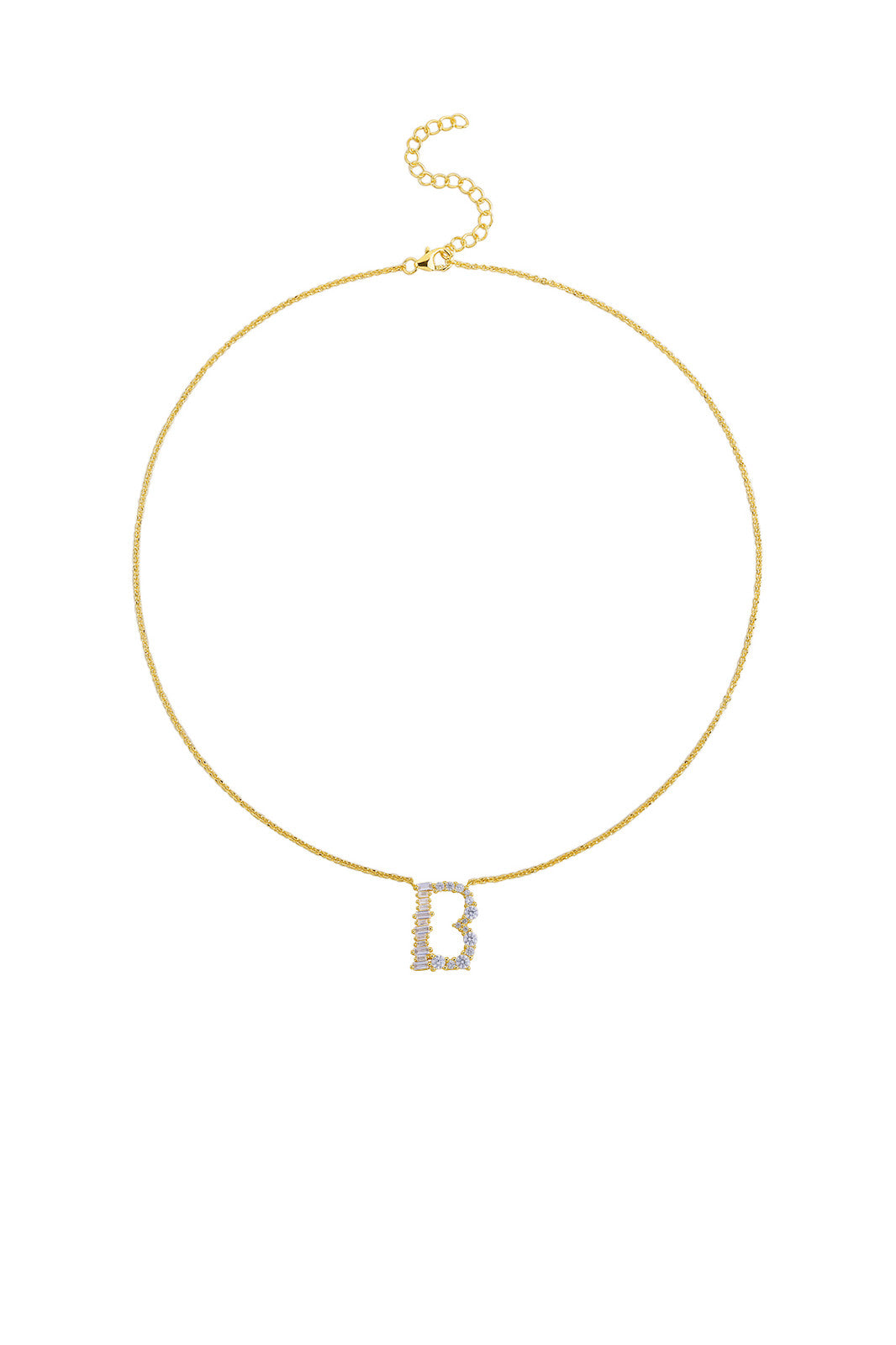 Gold Plated Sterling Silver Initial Necklace - Letter B Detail