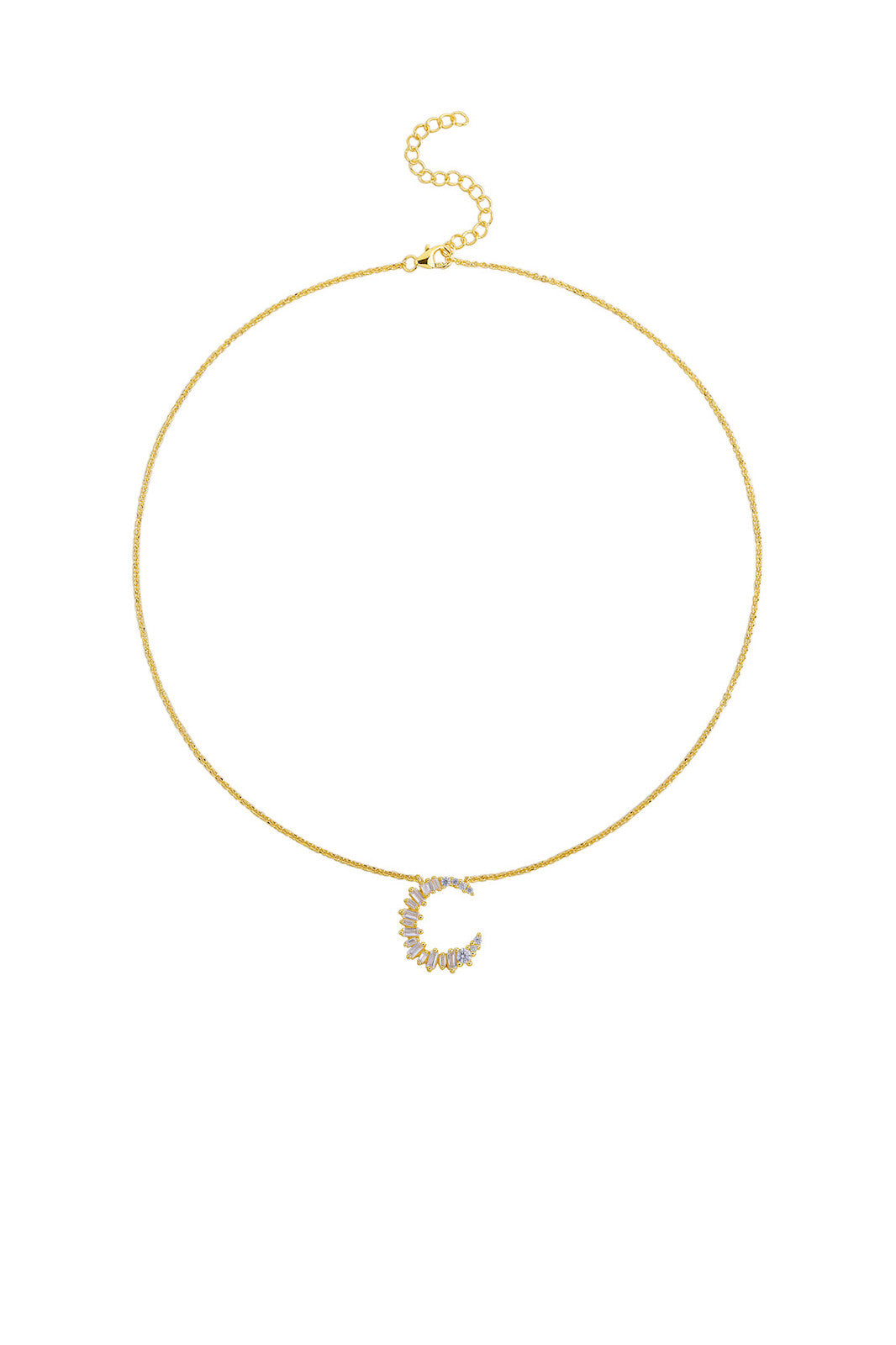 Gold Plated Sterling Silver Initial Necklace - Letter C Detail