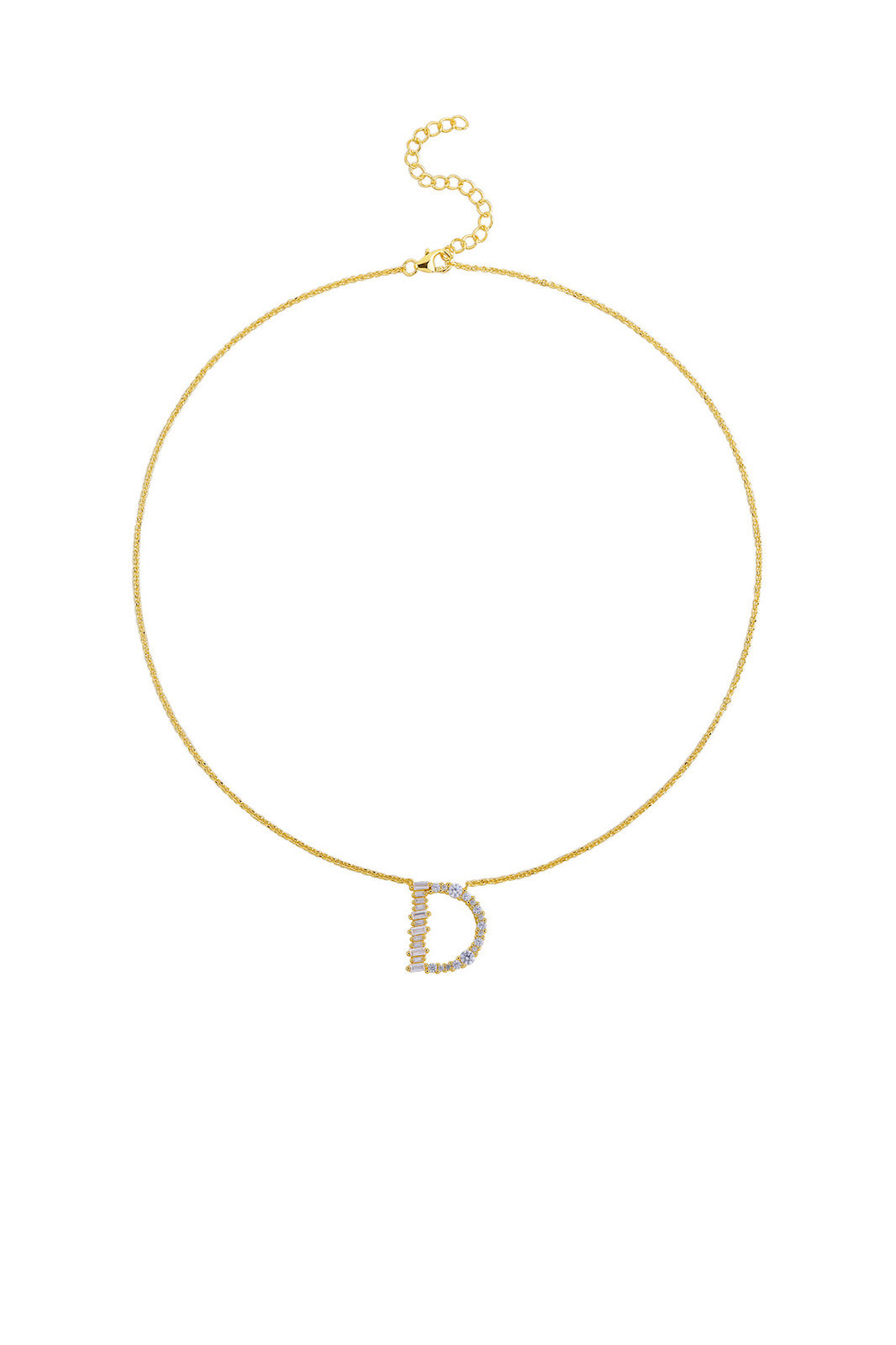 Gold Plated Sterling Silver Initial Necklace - Letter D Detail