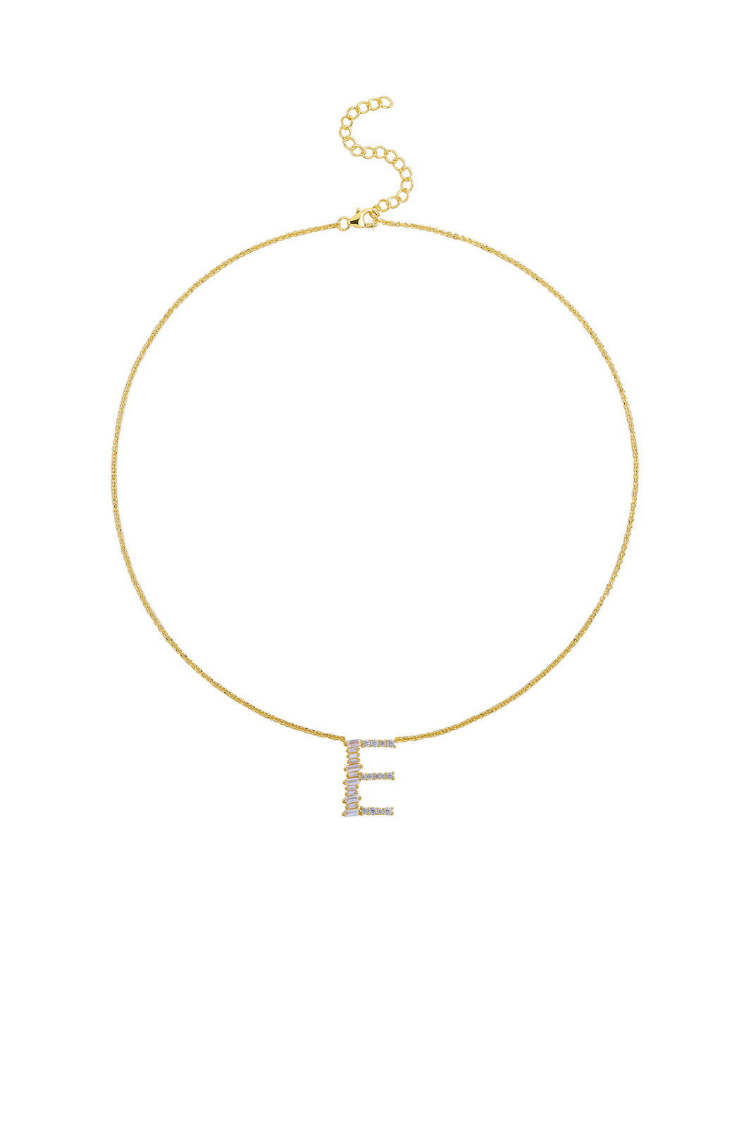 Gold Plated Sterling Silver Initial Necklace - Letter E Detail