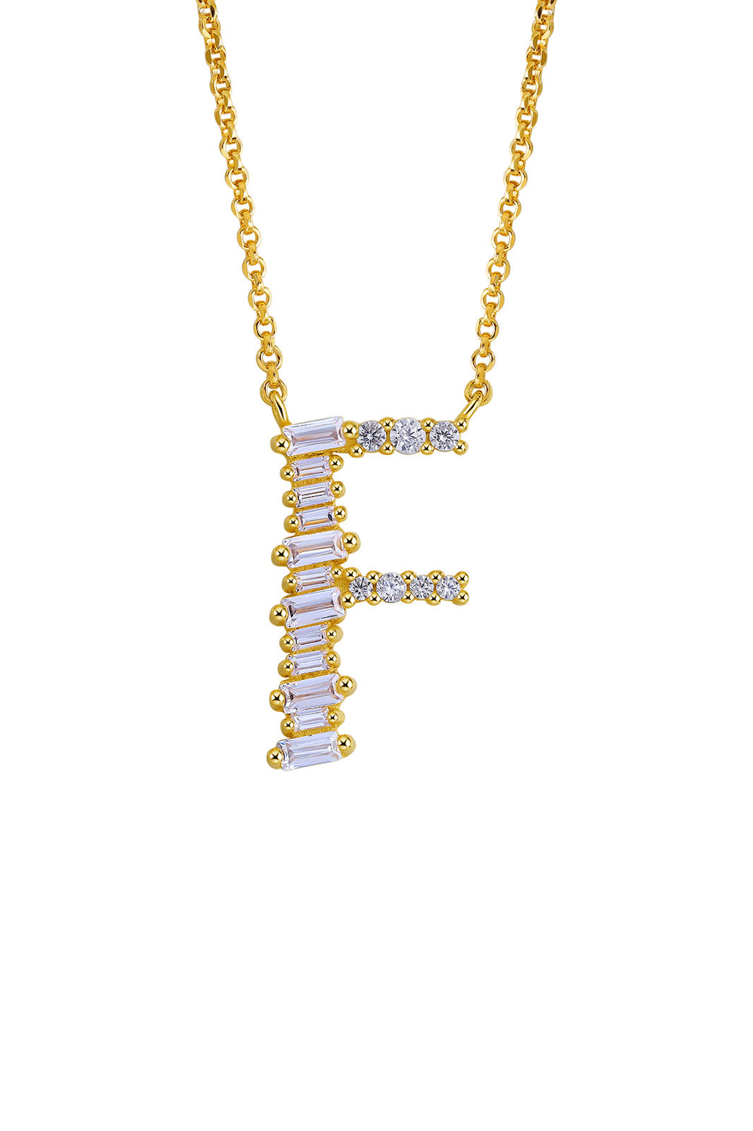 Gold Plated Sterling Silver Initial Necklace - Letter F Detail