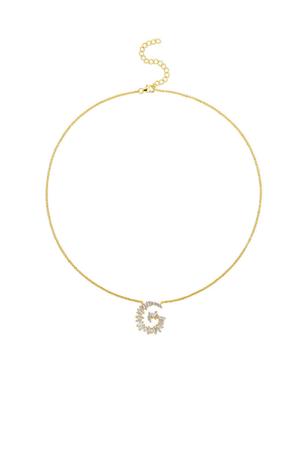Gold Plated Sterling Silver Initial Necklace - Letter G Detail