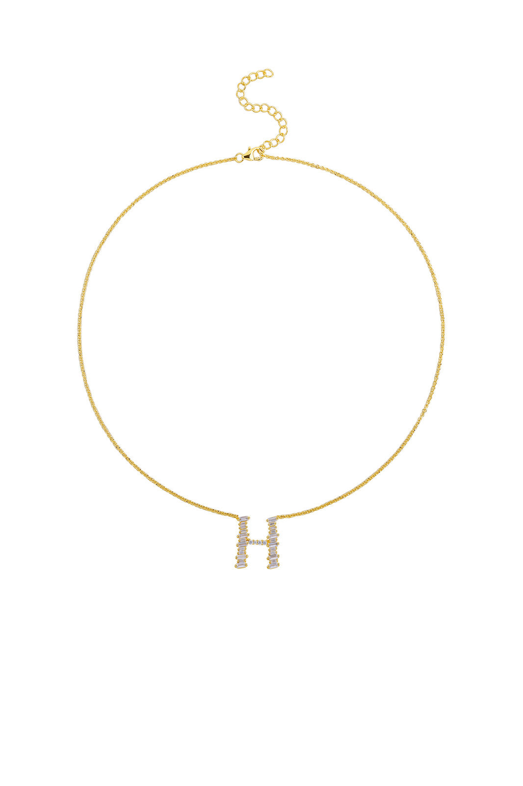 Gold Plated Sterling Silver Initial Necklace - Letter H Detail