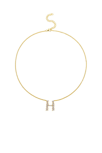 Gold Plated Sterling Silver Initial Necklace - Letter H