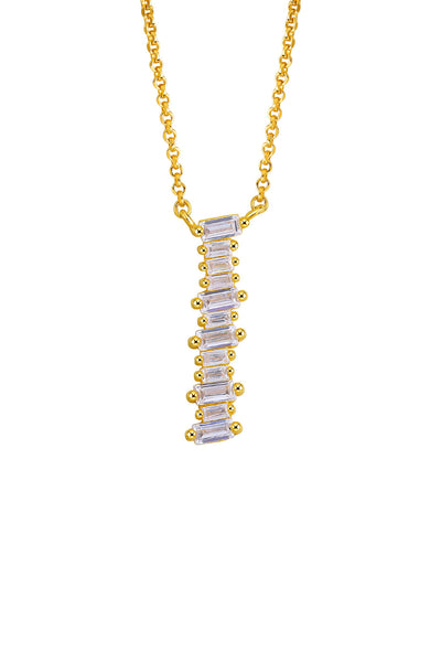 Gold Plated Sterling Silver Initial Necklace - Letter I Detail