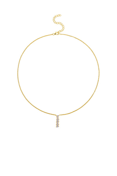 Gold Plated Sterling Silver Initial Necklace - Letter I