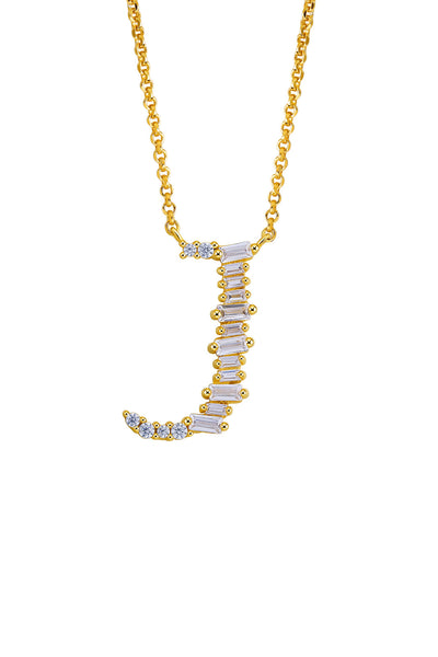 Gold Plated Sterling Silver Initial Necklace - Letter J Detail