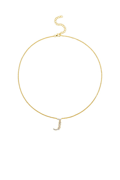 Gold Plated Sterling Silver Initial Necklace - Letter J