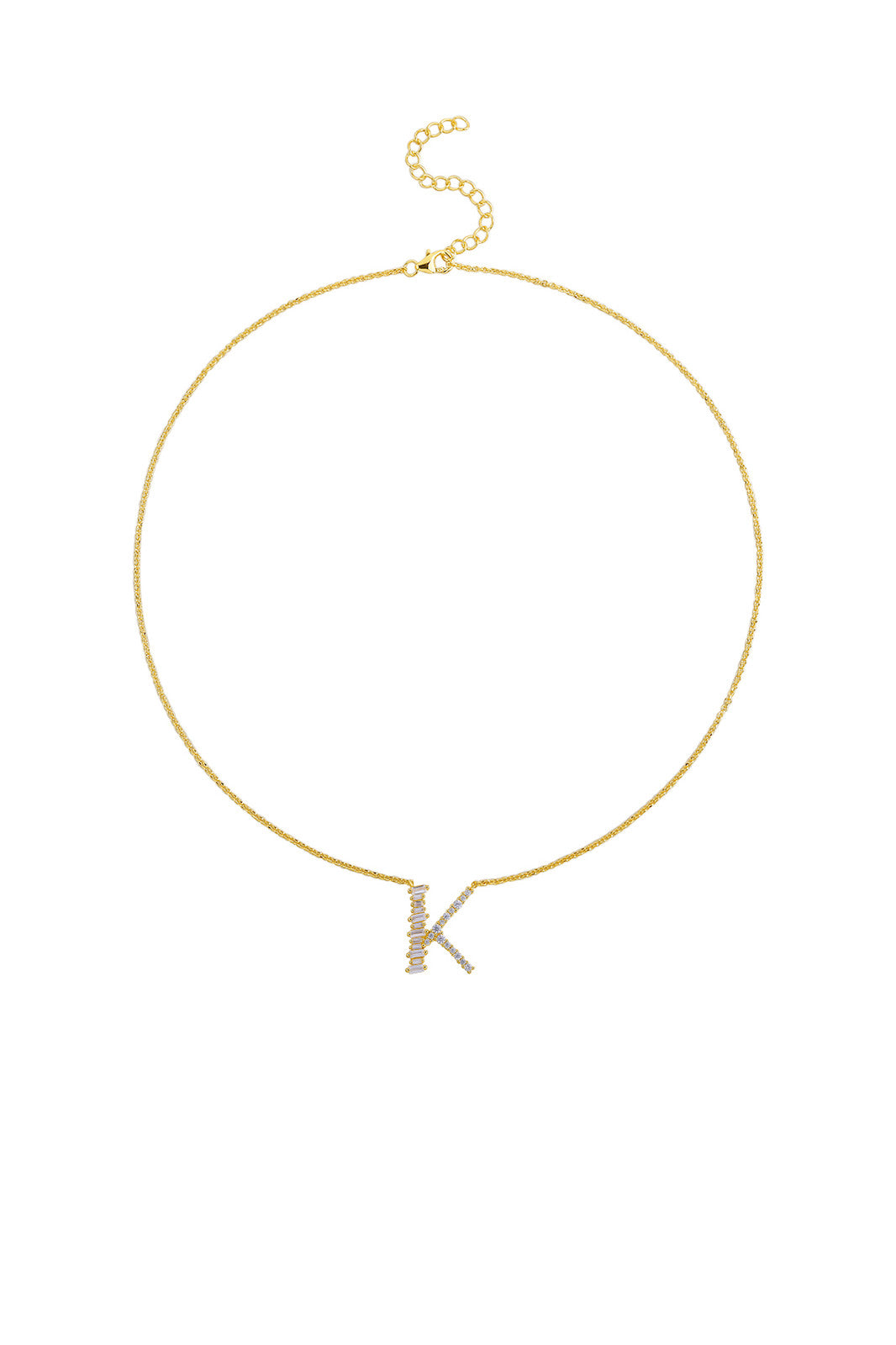 Gold Plated Sterling Silver Initial Necklace - Letter K Detail