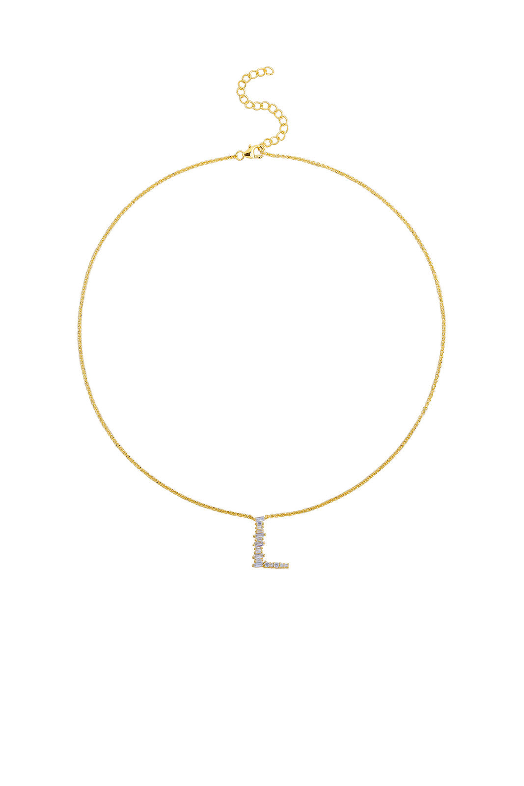 Gold Plated Sterling Silver Initial Necklace - Letter L Detail