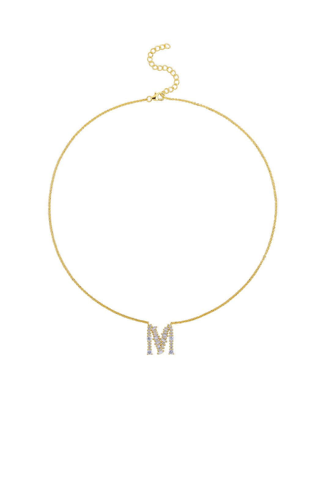 Gold Plated Sterling Silver Initial Necklace - Letter M Detail