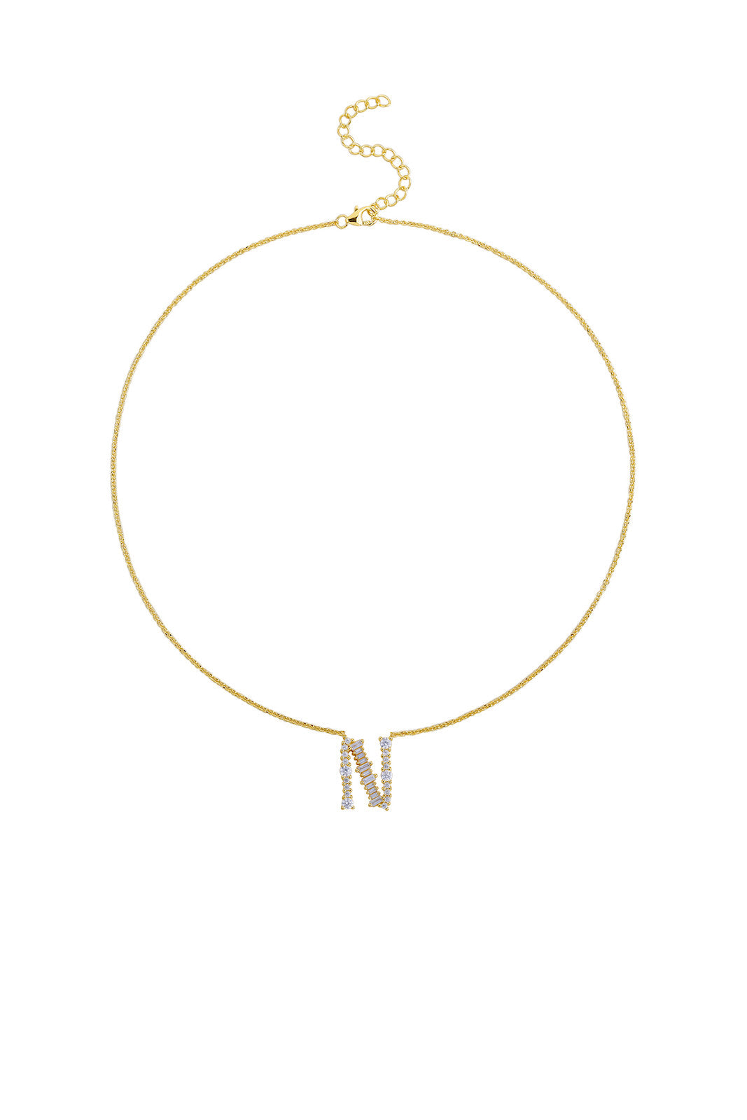 Gold Plated Sterling Silver Initial Necklace - Letter N Detail