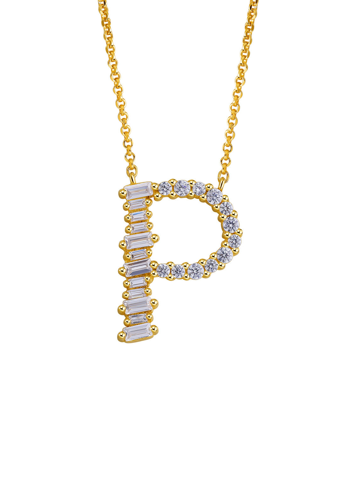 Gold Plated Sterling Silver Initial Necklace - Letter P Detail