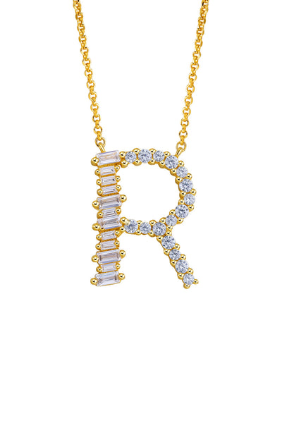 Gold Plated Sterling Silver Initial Necklace - Letter R Detail