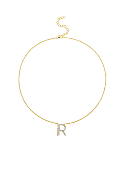 Gold Plated Sterling Silver Initial Necklace - Letter R