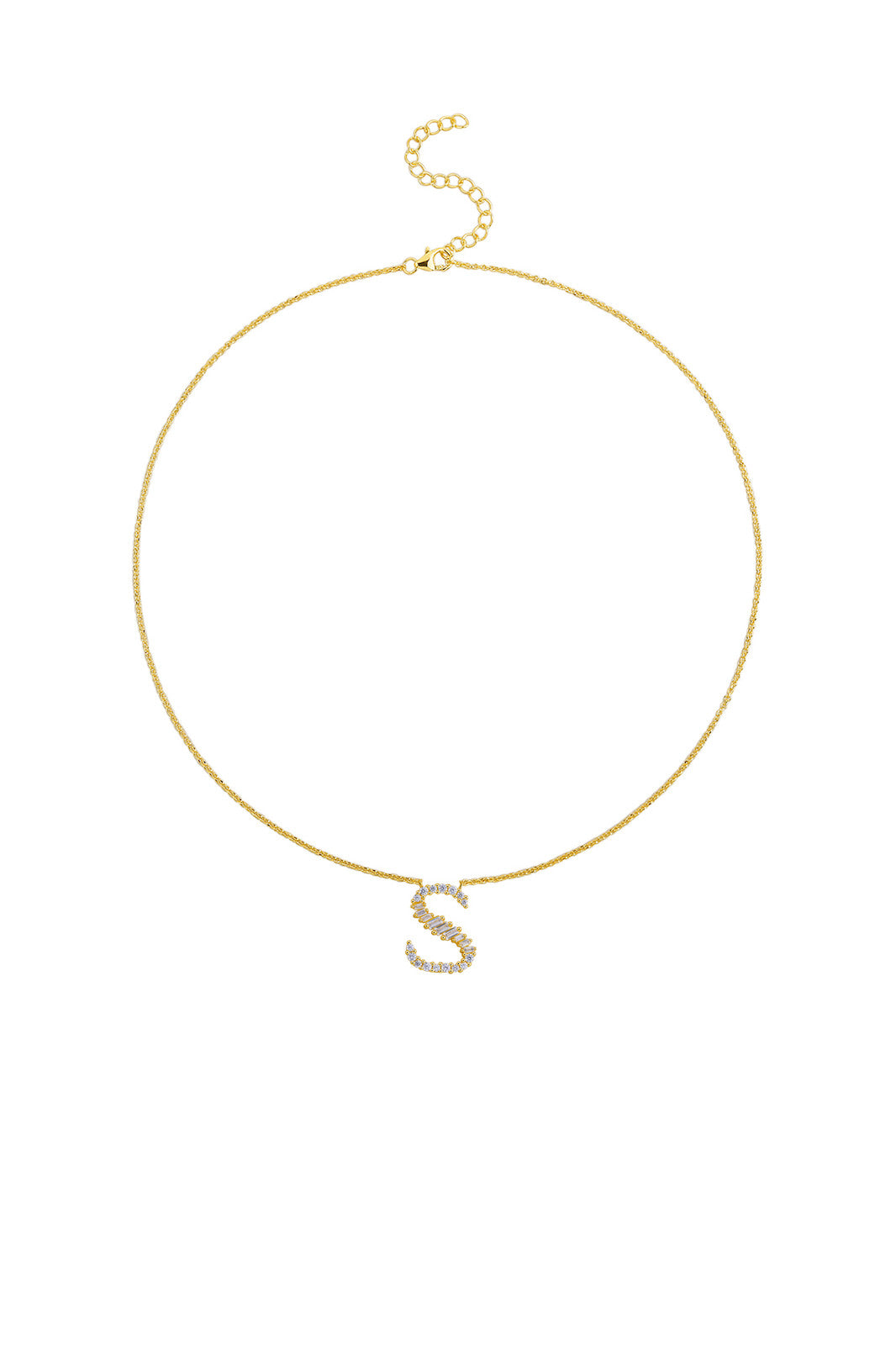 Gold Plated Sterling Silver Initial Necklace - Letter S Detail