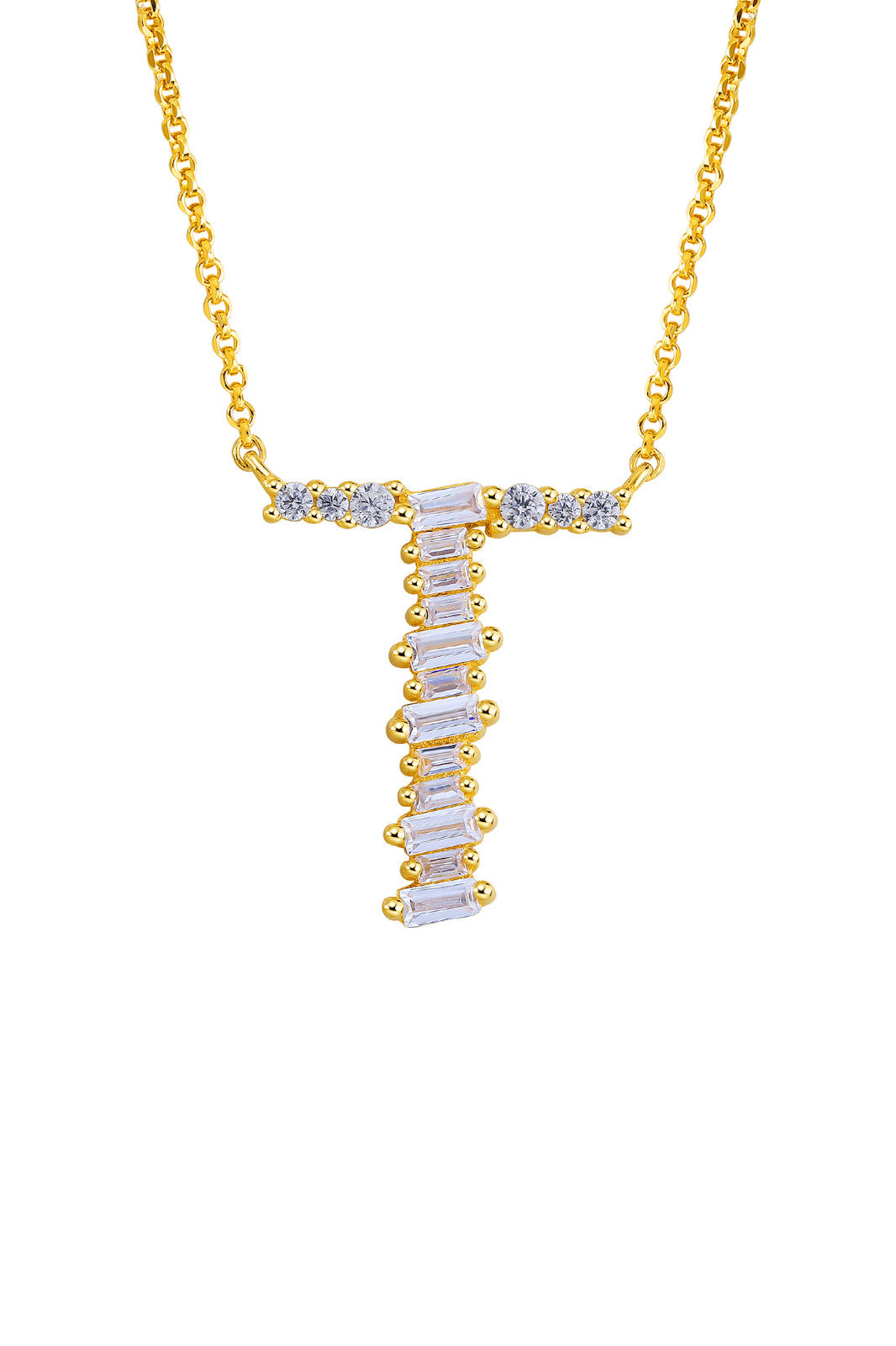 Gold Plated Sterling Silver Initial Necklace - Letter T Detail