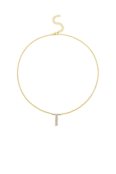 Gold Plated Sterling Silver Initial Necklace - Letter T