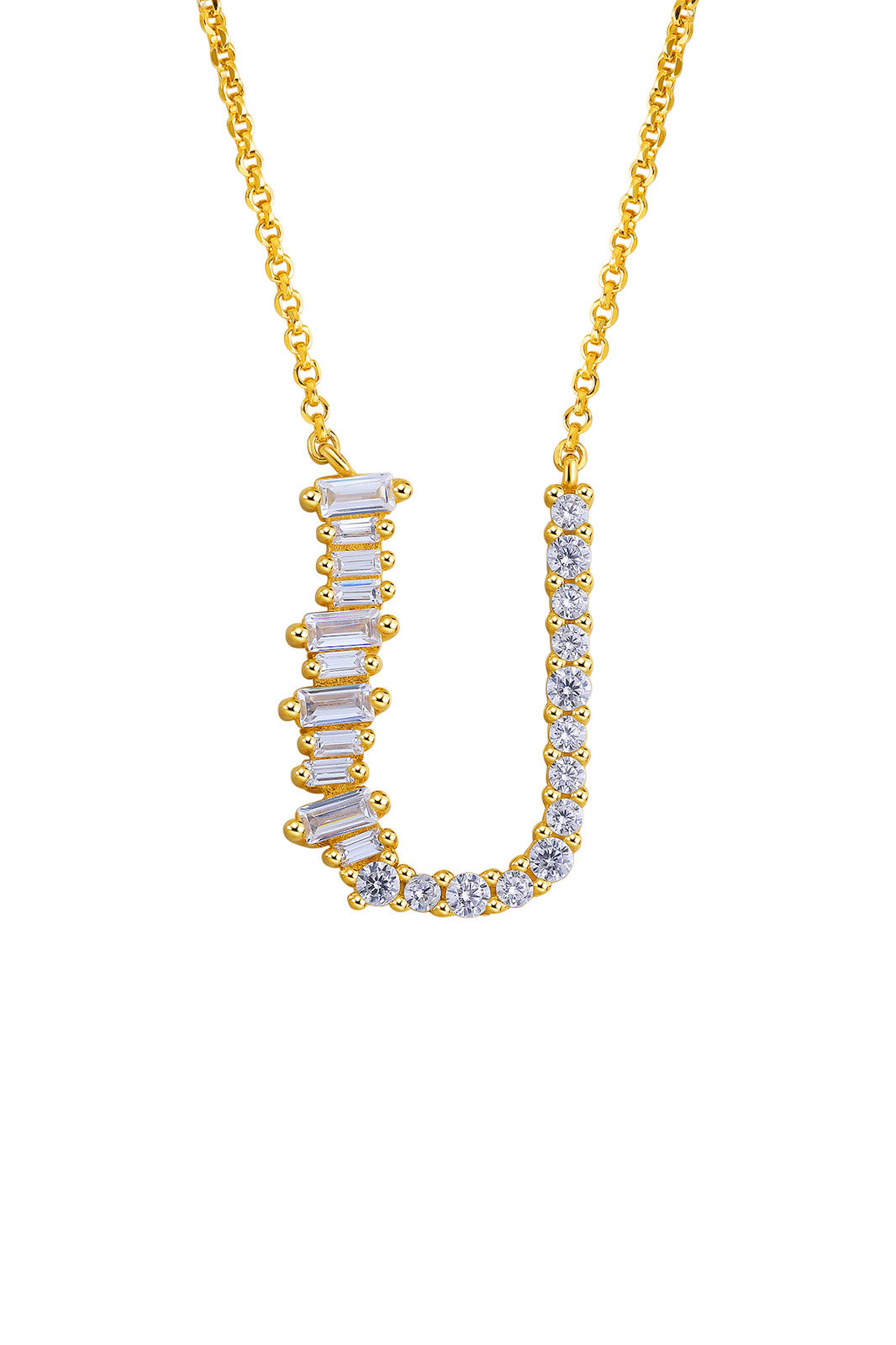 Gold Plated Sterling Silver Initial Necklace - Letter U Detail