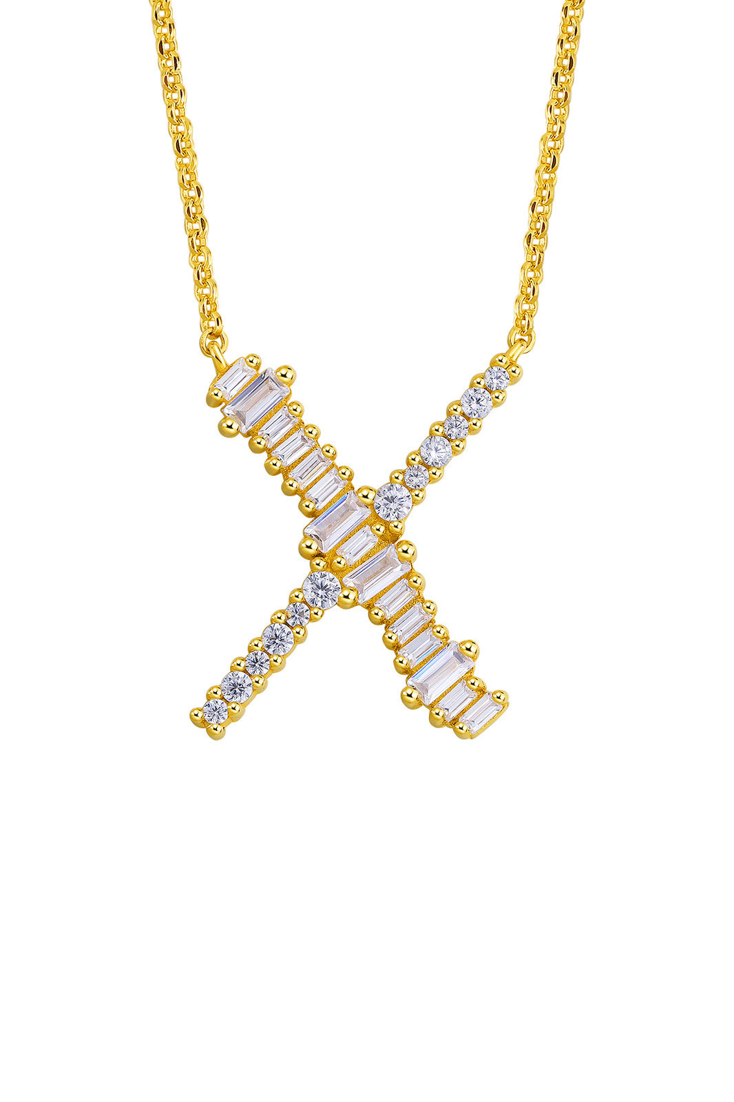 Gold Plated Sterling Silver Initial Necklace - Letter X Detail