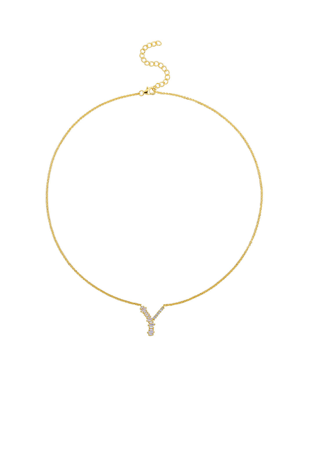 Gold Plated Sterling Silver Initial Necklace - Letter Y Detail