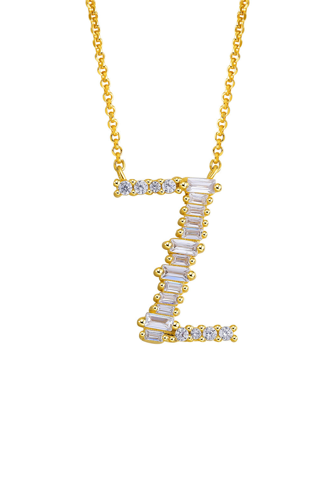 Gold Plated Sterling Silver Initial Necklace - Letter Z Detail