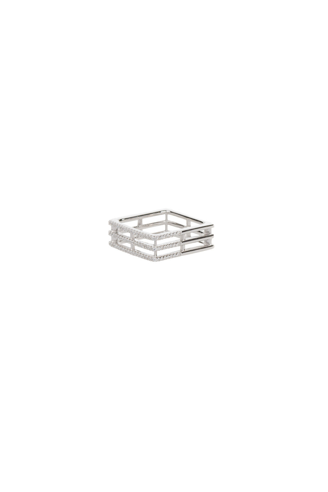 Modern Silver Square Ring