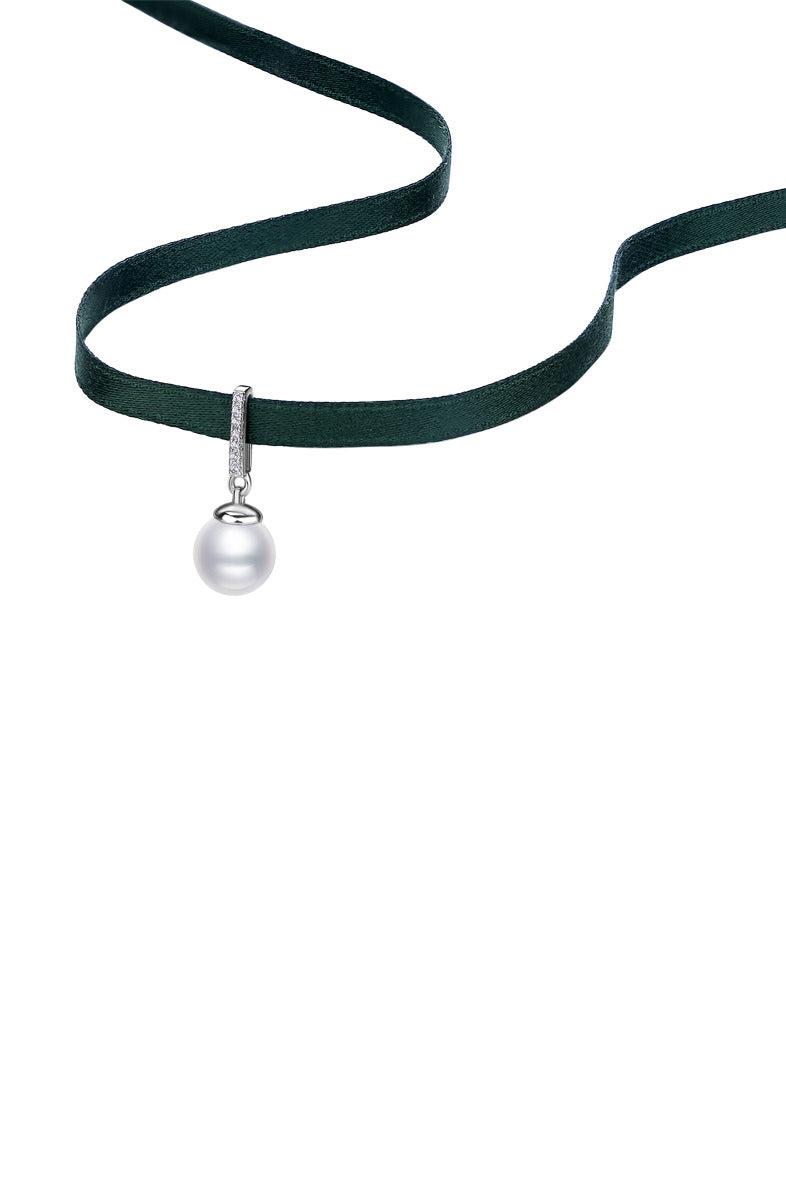 Pearl Choker with Emerald Green Silk Adjustable Band