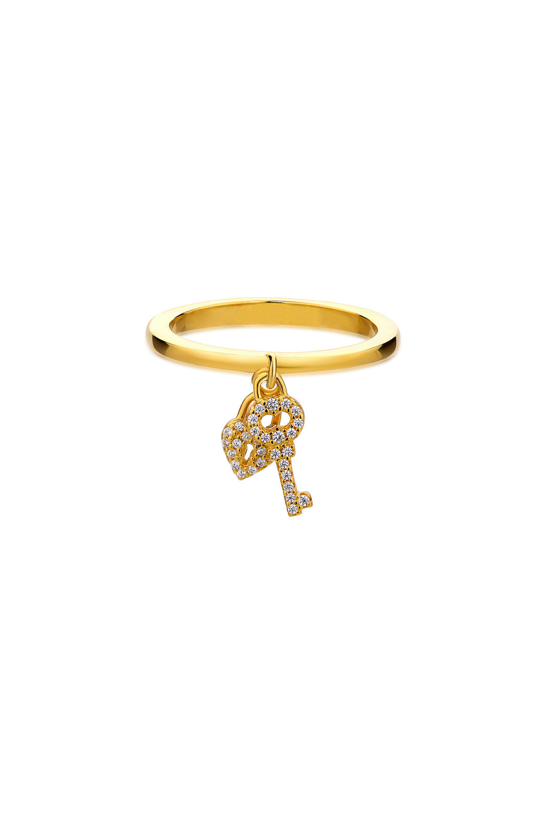 Valentine's Day Special Love Key & Padlock Silver Ring