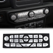 Center Console Button Decorative Cover Trim Kit For 18-19 Wrangler JL JLU