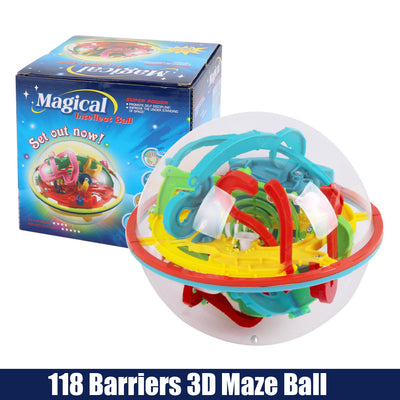 Labyrinth Magic Intellect Balance Puzzle Toy 118 Barriers 3D Maze Ball
