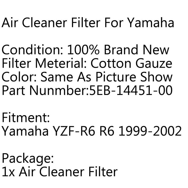 Air Filter Cleaner Element 5EB-14451-00 For Yamaha YZF-R6 R6 1999-2002 2001 Generic