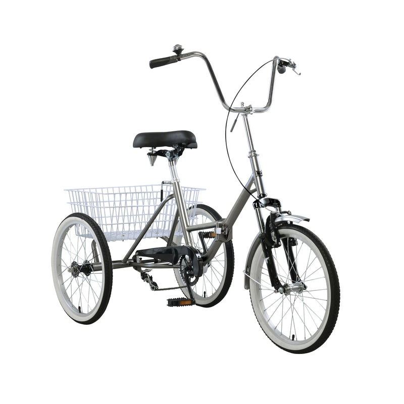 20'' Wheels Folding Tricycle Bike 3 Wheeler Bicycle Portable Tricycle