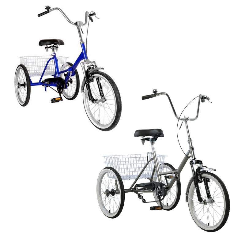 Folding Tricycle Bike 3 Wheeler Bicycle Portable Tricycle 20'' Wheels